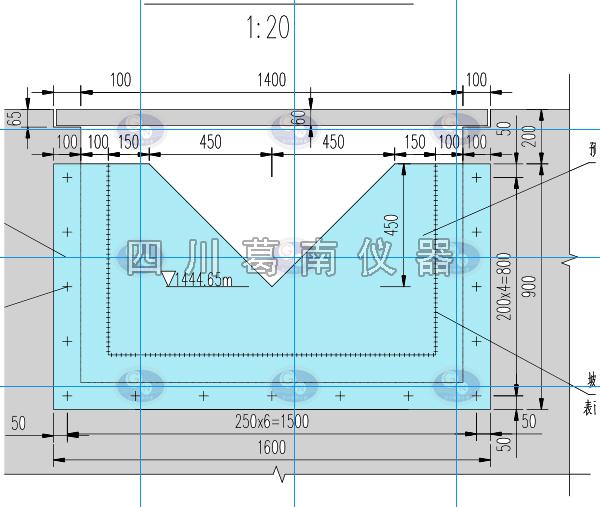 直角三角量水堰板1600-900