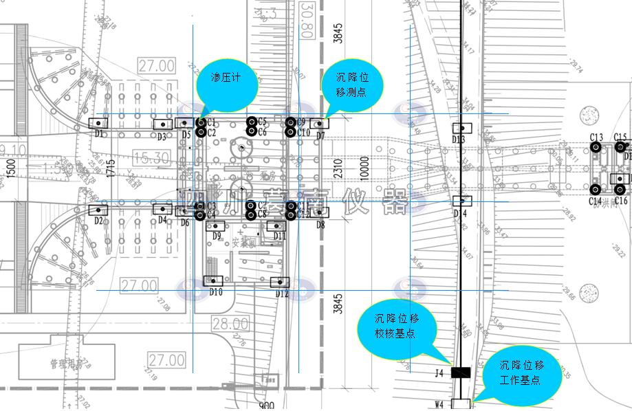 泵站监测设施平面布置图