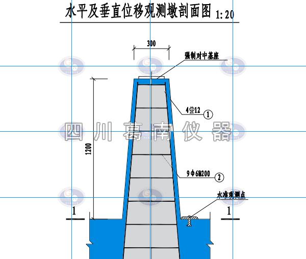 水平及垂直位移观测墩剖面图