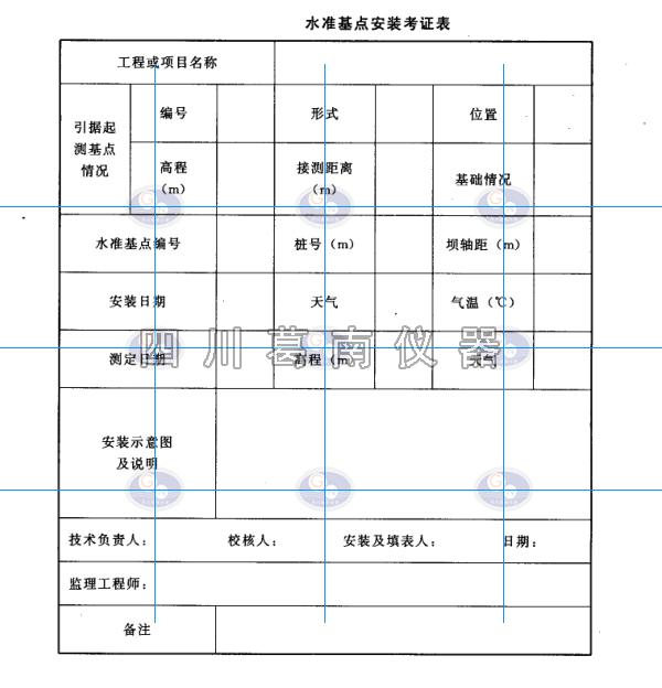 變形監測儀器安裝考證表