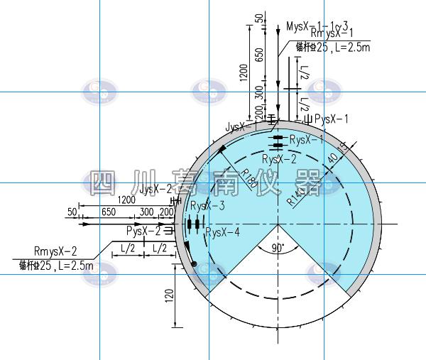 引水隧洞安全监测仪器设计示意图