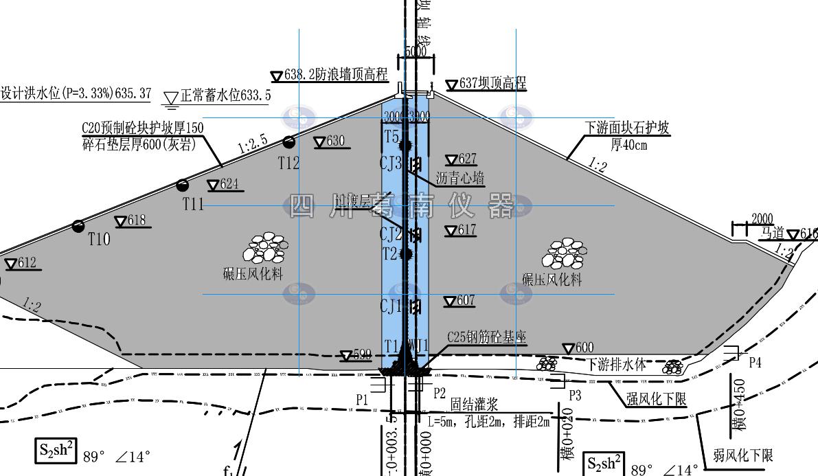 大壩安全監測儀器的安裝方法和觀測精度,遵照《土石壩安全監測技術規范》(L551- 2012)和儀器使用說明書的有關規定執行