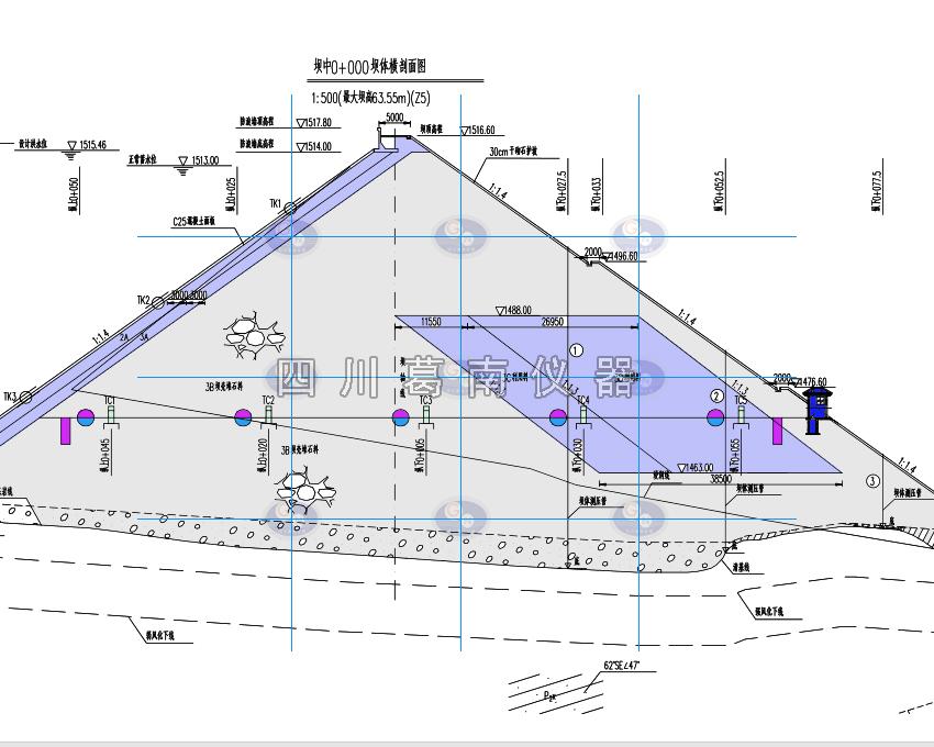面板坝钢丝水平位移计与水管式沉降仪监测点布设位置图