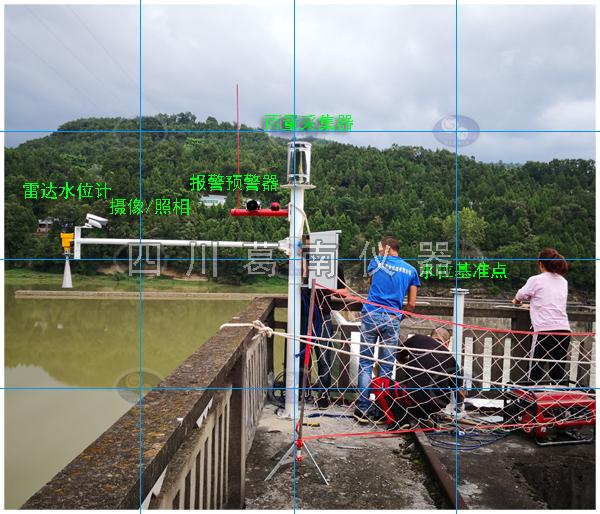 雷达水位计用于水利工程河道水位监测安装现场