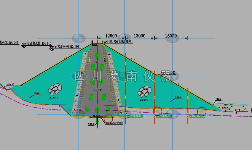 云南文山粘土心墻堆石壩水庫滲流監測儀器埋設及安裝