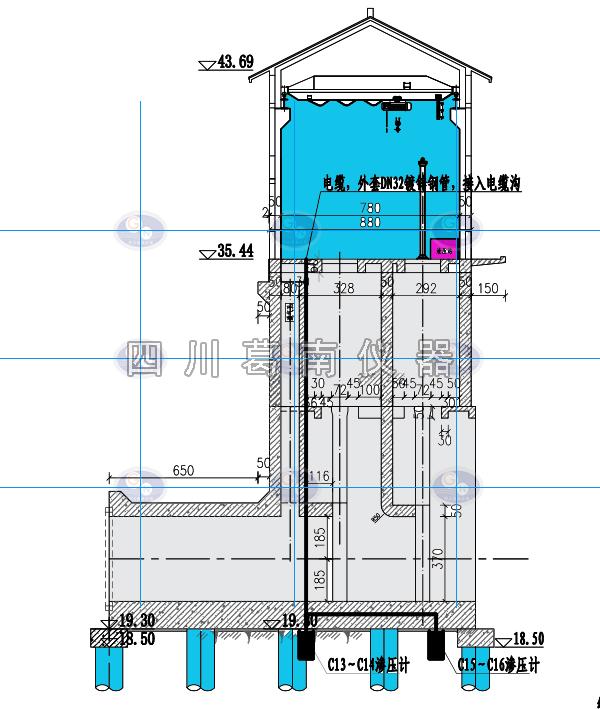 泵站渗压计安装布置图