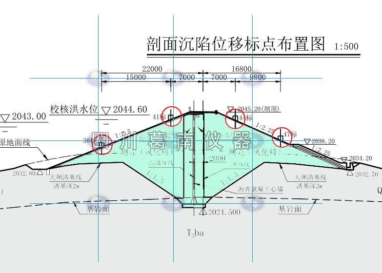 水库坝体沉陷位移标点布置剖面图
