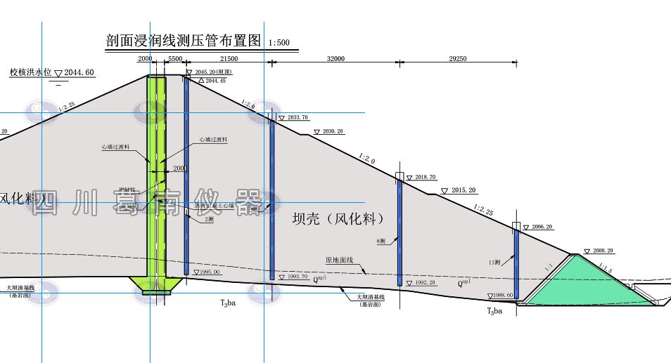 水库浸润线测压管剖面布置图参考